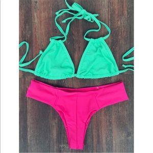 Green/pink bikini